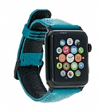 Burkley Apple Watch FL10 Mavi Gerçek Deri Kordon (42 mm)