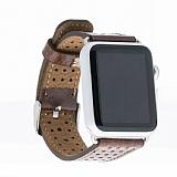 Burkley Apple Watch RBT3 Delikli Kahverengi Gerçek Deri Kordon (38 mm)