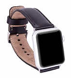 Burkley Apple Watch RST1 Siyah Gerçek Deri Kordon (38 mm)