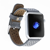 Burkley Apple Watch RST9 Delikli Gri Gerçek Deri Kordon (38 mm)