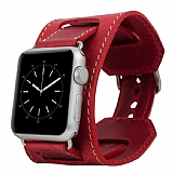 Burkley Cuff Apple Watch Antique Red Gerçek Deri Kordon (42 mm)