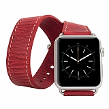 Burkley Apple Watch �ift Tur Antique Red Ger�ek Deri Kordon (42 mm)