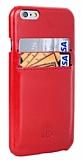 Bouletta Snap On iPhone 6 / 6S Fiesta Red Kartlıklı Gerçek Deri Rubber Kılıf