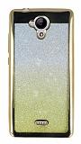 Casper Via E1 Simli Parlak Gold Silikon Kılıf