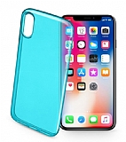 Cellularline iPhone X / XS Color UltraSlim Şeffaf Mavi Kılıf