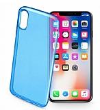 Cellularline iPhone X / XS Color UltraSlim Şeffaf Koyu Mavi Kılıf