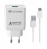 Cellularline Type-C Seyahat Şarjı 15W (Kablo+Adaptör)