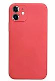 Coblue iPhone 12 6.1 inç Kamera Korumalı Kırmızı Silikon Kılıf