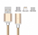Eiroo Lightning Micro USB Type-C Gold Manyetik Data Kablosu 1m