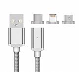 Cortrea Lightning Micro USB Type-C Silver Manyetik Data Kablosu 1m