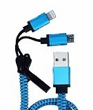 Cortrea Fermuarl� Lightning & Micro USB Mavi �arj Kablosu