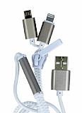 Cortrea Fermuarl� Lightning & Micro USB Gold �arj Kablosu