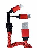 Cortrea Fermuarl� Lightning & Micro USB K�rm�z� �arj Kablosu