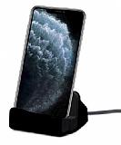 Eiroo iPhone 11 Pro Max Lightning Masaüstü Dock Siyah Şarj Aleti