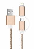Cortrea Lightning & Micro USB K�sa Dayanakl� Gold Data Kablosu