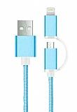 Cortrea Lightning & Micro USB K�sa Dayanakl� Mavi Data Kablosu