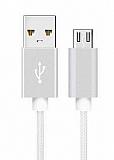 Cortrea Micro USB Dayanıklı Halat Silver Data Kablosu 1,50m