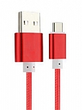 Cortrea Micro USB Dayanıklı Halat Kırmızı Data Kablosu 1,50m