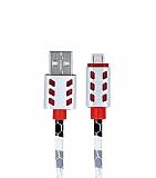 Cortrea Micro USB Yılan Derisi Desenli Silver Işıklı Data Kablosu 1m