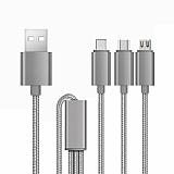 Cortrea Multiple Çoklu Silver Dayanıklı Şarj Kablosu 1m