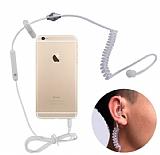 Cortrea Spiral Kablolu Tekli Şeffaf Beyaz Mikrofonlu Ajan Kulaklık