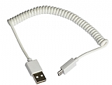 Cortrea Spiral Micro USB Beyaz Data Kablosu 1m