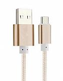 Eiroo USB Type-C Dayanıklı Gold Halat Şarj Kablosu 1,50m