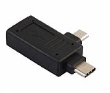 Cortrea Type-C ve Micro Siyah USB OTG Dönüştürücü Adaptör
