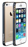 COTEetCI iPhone SE / 5 / 5S Gold �izgili Metal Round Bumper Dark Silver K�l�f