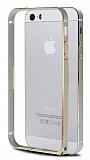 COTEetCI iPhone 5 / 5S Gold �izgili Metal Round Bumper Gold K�l�f