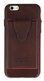 Dafoni Air Jacket iPhone 6 / 6S Cüzdanlı Kahverengi Deri Kılıf