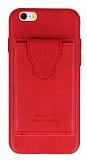 Dafoni Air Jacket iPhone 6 Plus / 6S Plus Cüzdanlı Kırmızı Deri Kılıf