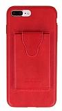 Dafoni Air Jacket iPhone 7 Plus / 8 Plus Cüzdanlı Kırmızı Deri Kılıf