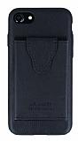 Dafoni Air Jacket iPhone SE 2020 Cüzdanlı Siyah Deri Kılıf