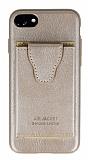 Dafoni Air Jacket iPhone SE 2020 Cüzdanlı Gold Deri Kılıf