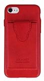 Dafoni Air Jacket iPhone SE 2020 Cüzdanlı Kırmızı Deri Kılıf