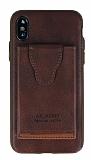 Dafoni Air Jacket iPhone X Cüzdanlı Kahverengi Deri Kılıf
