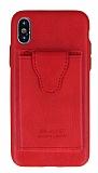 Dafoni Air Jacket iPhone X Cüzdanlı Kırmızı Deri Kılıf