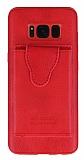 Dafoni Air Jacket Samsung Galaxy S8 Cüzdanlı Kırmızı Deri Kılıf