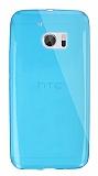 Dafoni Aircraft HTC 10 Ultra İnce Şeffaf Mavi Silikon Kılıf