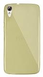 Dafoni Aircraft HTC Desire 828 Ultra İnce Şeffaf Gold Silikon Kılıf