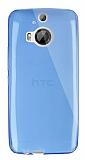 Dafoni Aircraft HTC One M9 Plus Ultra İnce Şeffaf Mavi Silikon Kılıf