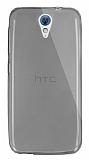 Dafoni Aircraft HTC Desire 620 Ultra İnce Şeffaf Siyah Silikon Kılıf