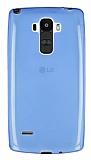 LG G4 Stylus Ultra İnce Şeffaf Mavi Silikon Kılıf