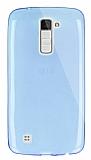 Dafoni Aircraft LG K10 Ultra İnce Şeffaf Mavi Silikon Kılıf