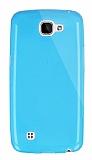 Dafoni Aircraft LG K4 Ultra İnce Şeffaf Mavi Silikon Kılıf