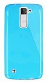 Dafoni Aircraft LG K8 Ultra İnce Şeffaf Mavi Silikon Kılıf