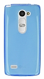 LG Leon Ultra İnce Şeffaf Mavi Silikon Kılıf