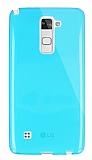 Dafoni Aircraft LG Stylus 2 / Stylus 2 Plus Ultra İnce Şeffaf Mavi Silikon Kılıf