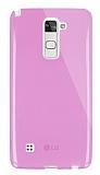 Dafoni Aircraft LG Stylus 2 / Stylus 2 Plus Ultra İnce Şeffaf Pembe Silikon Kılıf